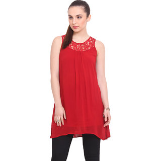 La Stella Women Red Crepe Casual Tunic (L16135)