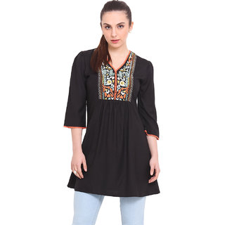 La Stella Women Black Rayon Casual Tunic (L16139-BLACK)