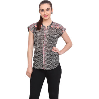 H.O.G. Women Multi Polyester Casual Top (UCI017)