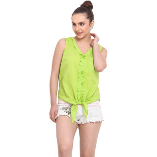 H.O.G. Women Green Cotton Casual Top (UCI002-A)