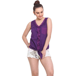 H.O.G. Women Purple Cotton Casual Top (UCI002-B)