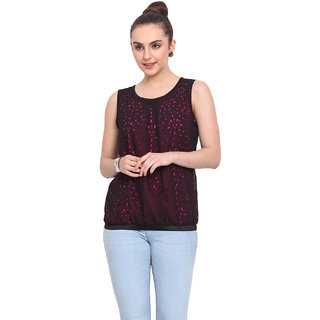 H.O.G. Women Black Polyester Casual Top (UCI005-B)