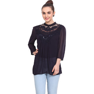 H.O.G. Women Blue Poly Georgette Casual Top (UCI032)