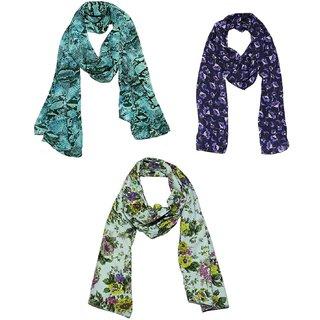 Weavers Villa - Set of 3 Premium Soft Summer Vibrant Coloured Trendy Scarves, St