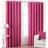 Beautiful Solid Crush Curtain Dark Pink Set Of 2