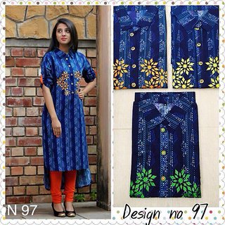 Designer Cotton Kurtis,with embroidery on the side