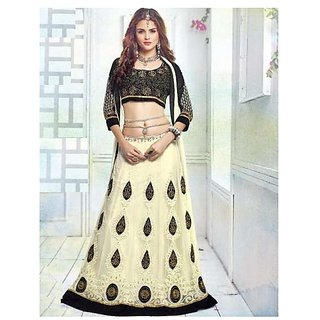 Womens Cream Georgette Anarkali Unstitched lehenga Dress Material