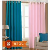 Shop 24x7-Beautiful Solid Cursh Curtain Combination Of Blue And Pink (4x7ft)