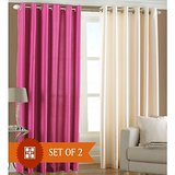 Shop 24x7-Beautiful Solid Color Curtain -Pink, Cream (set Of 2) (4x7ft)