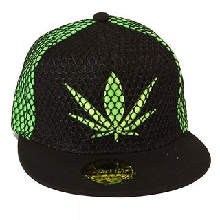 ILU Black Cap With Cannabis Leaf. (Snapback Cap, Baseball Cap, Hip Hop Caps)