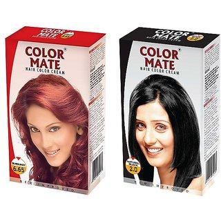 Color Mate Hair Color Cream Burgundy + Natural Black