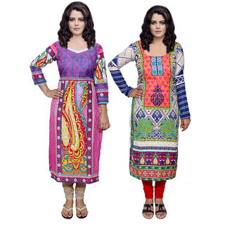 Indistar Combo offer- Women Cotton Printed and Pashmina Jaamavaar  Digital Printed Unstitched  Kurti Fabric 3006830035-IW