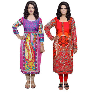 Indistar Combo offer- Women Cotton Printed and Pashmina Jaamavaar  Digital Printed Unstitched  Kurti Fabric 3006830039-IW