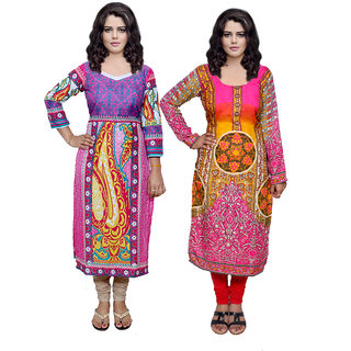 Indistar Combo offer- Women Cotton Printed and Pashmina Jaamavaar  Digital Printed Unstitched  Kurti Fabric 3006830040-IW