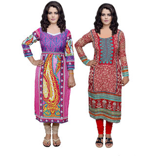 Indistar Combo offer- Women Cotton Printed and Pashmina Jaamavaar  Digital Printed Unstitched  Kurti Fabric 3006830044-IW