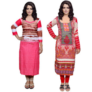 Indistar Combo offer- Women Cotton Printed and Pashmina Jaamavaar  Digital Printed Unstitched  Kurti Fabric 3006930034-IW