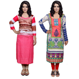Indistar Combo offer- Women Cotton Printed and Pashmina Jaamavaar  Digital Printed Unstitched  Kurti Fabric 3006930035-IW