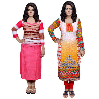 Indistar Combo offer- Women Cotton Printed and Pashmina Jaamavaar  Digital Printed Unstitched  Kurti Fabric 3006930037-IW
