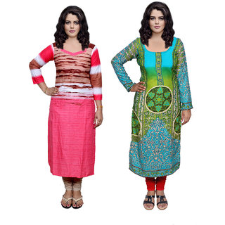 Indistar Combo offer- Women Cotton Printed and Pashmina Jaamavaar  Digital Printed Unstitched  Kurti Fabric 3006930041-IW