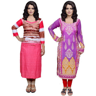Indistar Combo offer- Women Cotton Printed and Pashmina Jaamavaar  Digital Printed Unstitched  Kurti Fabric 3006930045-IW