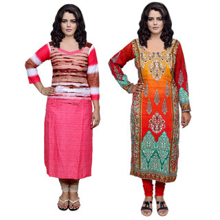 Indistar Combo offer- Women Cotton Printed and Pashmina Jaamavaar  Digital Printed Unstitched  Kurti Fabric 3006930046-IW