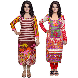 Indistar Combo offer- Women Cotton Printed and Pashmina Jaamavaar  Digital Printed Unstitched  Kurti Fabric 3007030034-IW