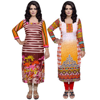 Indistar Combo offer- Women Cotton Printed and Pashmina Jaamavaar  Digital Printed Unstitched  Kurti Fabric 3007030037-IW