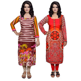 Indistar Combo offer- Women Cotton Printed and Pashmina Jaamavaar  Digital Printed Unstitched  Kurti Fabric 3007030039-IW