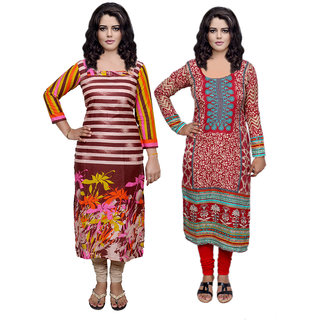 Indistar Combo offer- Women Cotton Printed and Pashmina Jaamavaar  Digital Printed Unstitched  Kurti Fabric 3007030044-IW