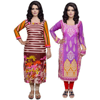 Indistar Combo offer- Women Cotton Printed and Pashmina Jaamavaar  Digital Printed Unstitched  Kurti Fabric 3007030045-IW