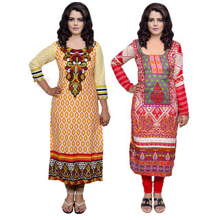 Indistar Combo offer- Women Cotton Printed and Pashmina Jaamavaar  Digital Printed Unstitched  Kurti Fabric 3007130034-IW