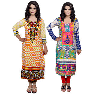 Indistar Combo offer- Women Cotton Printed and Pashmina Jaamavaar  Digital Printed Unstitched  Kurti Fabric 3007130035-IW