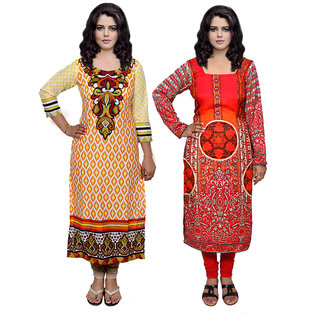Indistar Combo offer- Women Cotton Printed and Pashmina Jaamavaar  Digital Printed Unstitched  Kurti Fabric 3007130039-IW