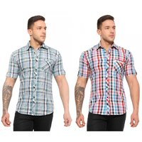 Wajbee Mens 100 Percent Cotton Half Sleeve Shirt-Pack of 2