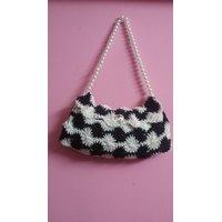Crochet Black And White Hand Bag