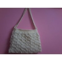 Crochet White Hand Bags With Pearls