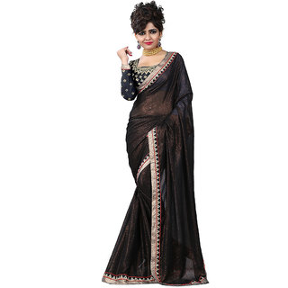 GC Sarees Elegent Attractive Party  Formal Wear Plain Georgette Saree ( Black )