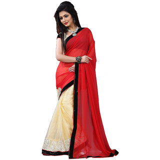 GC Sarees Plain Net Saree - Red