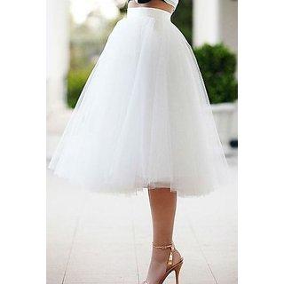 5b08ce3908 Buy White Net Plain Flared Skirt For Women Online   ₹699 from ShopClues