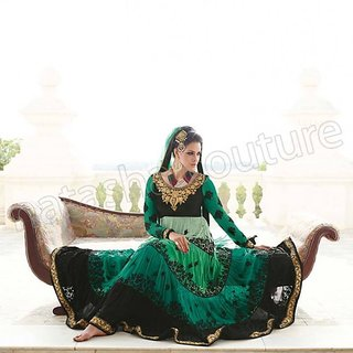 Ethnic Culture Green Georgette Un-stiched Anarkali Suit Dress Material 500-16383