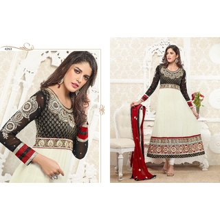 Ethnic Culture White Georgette Un-stiched Anarkali Suit Dress Material 548-17270