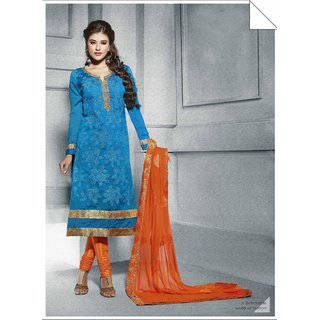 Ethnic Culture Blue Chanderi Un-stiched Straight Suit Dress Material 947-23351