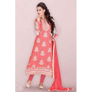 Ethnic Culture Pink Georgette Semi-stitched Anarkali Suit