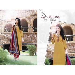 Ethnic Culture Brown Bhagalpuri Silk Un-stiched Straight Suit Dress Material