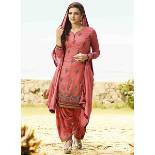 Ethnic Culture Red Georgette Semi-stitched Patiala Suit