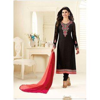 Ethnic Culture Black Brasso Un-stiched Straight Suit Dress Material