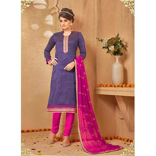 Ethnic Culture Purple Silk Un-stiched Straight Suit Dress Material 1930-37105