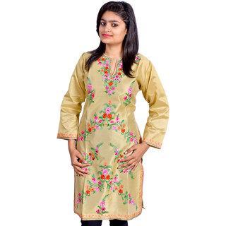 26cd5a7a71 Buy Pixel Kashmiri Silk Kurti beige Online @ ₹1299 from ShopClues