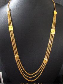 Golden 3 line long necklace