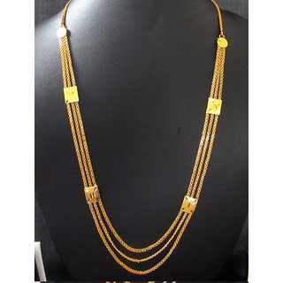 Golden 3 line long necklace